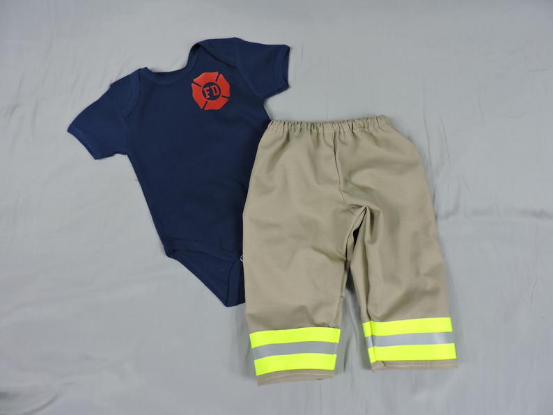 Baby Firefighter Outfit Tan Bunker Gear look