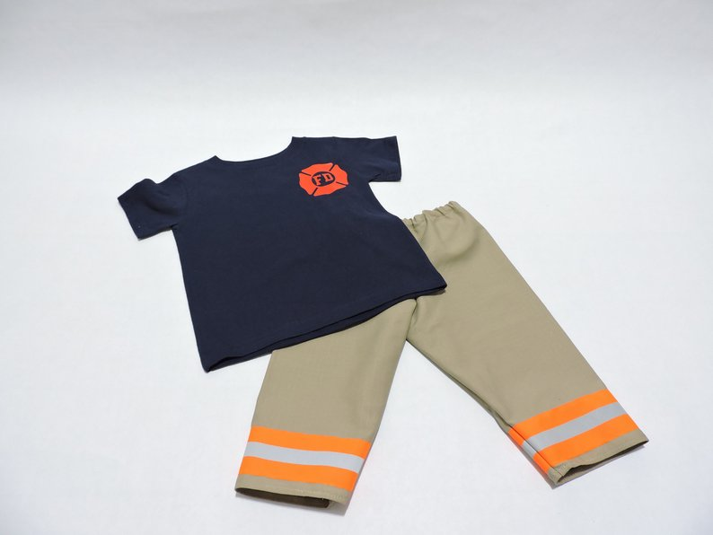 Baby Firefighter Outfit Tan Bunker Gear look - Click Image to Close
