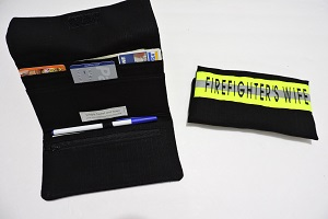Firefighter women's Wallet, black bunker gear look FDW103