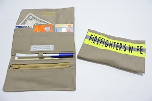 Firefighter women's Wallet, Tan bunker gear look FDW102