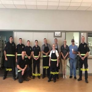 Firefighter shift in aprons