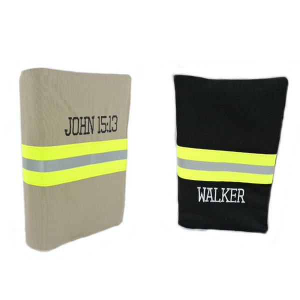 Tan and Black Firefighter bible cover