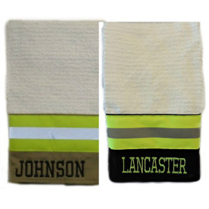 black and tan firefighter kitchen towels