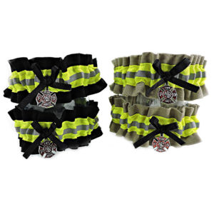 tan and black firefighter wedding garter set