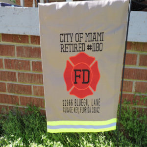 tan address firefighter garden flag
