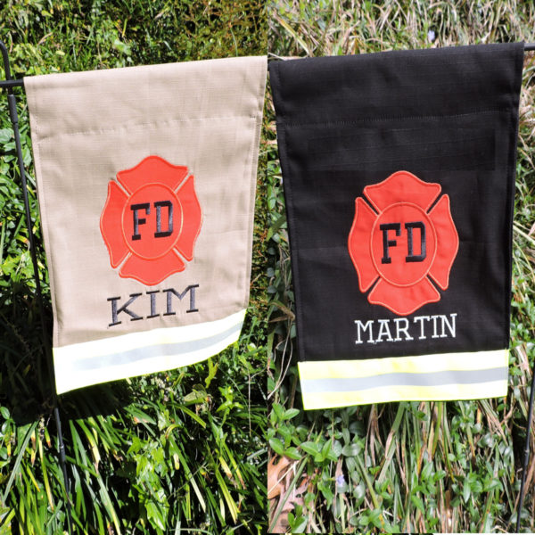 Tan and black firefighter garden flag