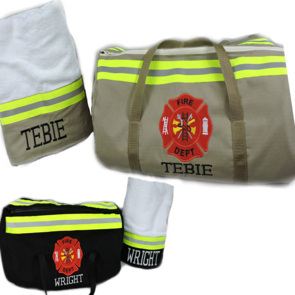 Tan or black Bunker gear duffel and towel