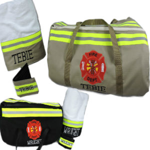 Tan or black bunker gear firefighter duffel towel wallet