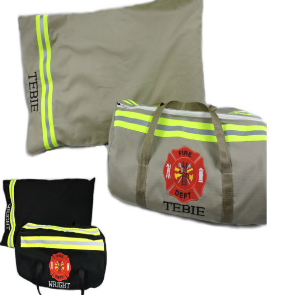 Tan or Black Duffel bag pillowcase firefighter gift