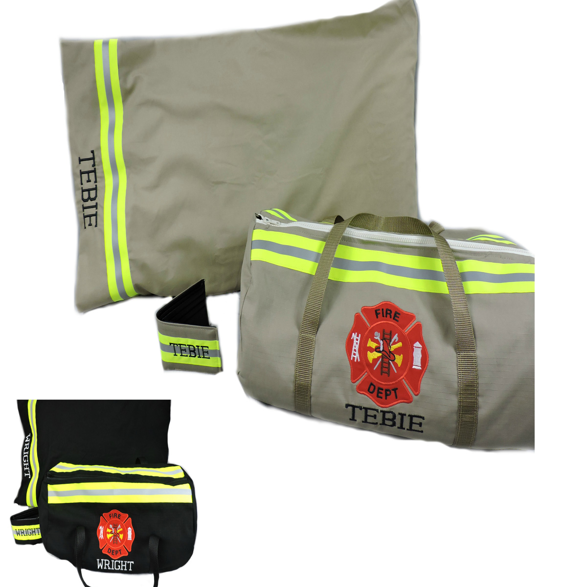 Firefighter-gift-set-duffel-bag-pillowcase-wallet