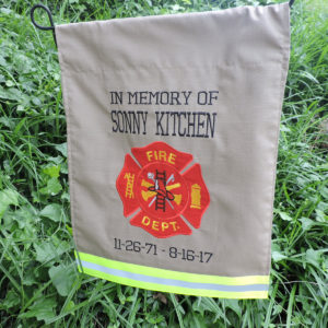 Memorial firefighter garden flag