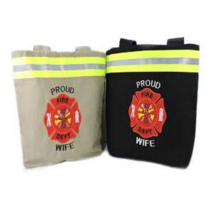 Tan and black Firefighter wife purse
