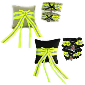 tan and black firefighter garters and ring pillow set