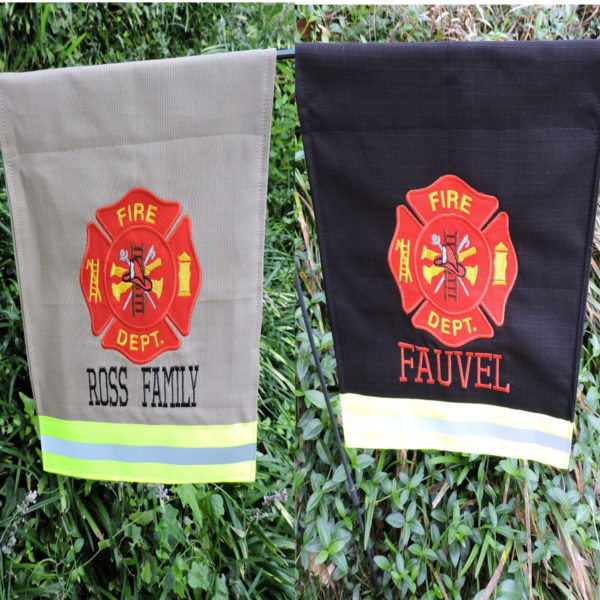 Tan or black Firefighter Garden flag