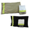 tan and black bunker gear pillowcase and towel set