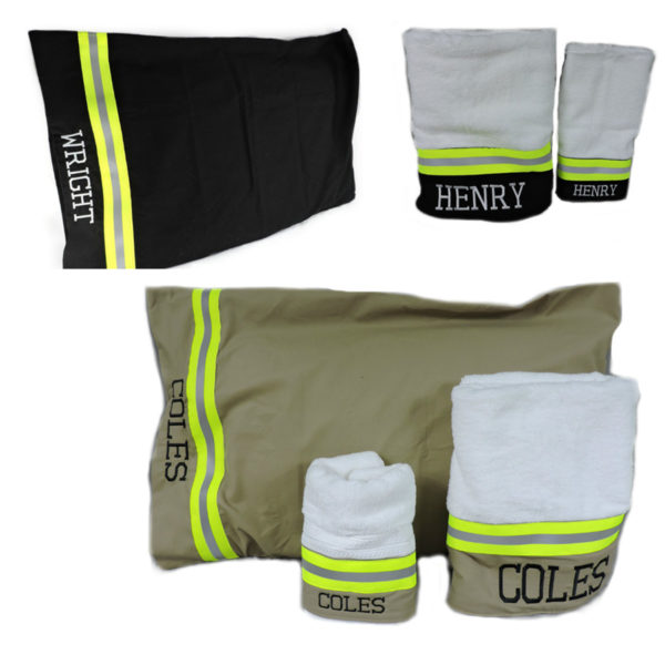 Tan and black firefighter towel and pillowcase set