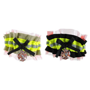 tan and red firefighter wedding garter red lace