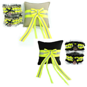 tan and black firefighter wedding garters with lace and ring bearer pillow