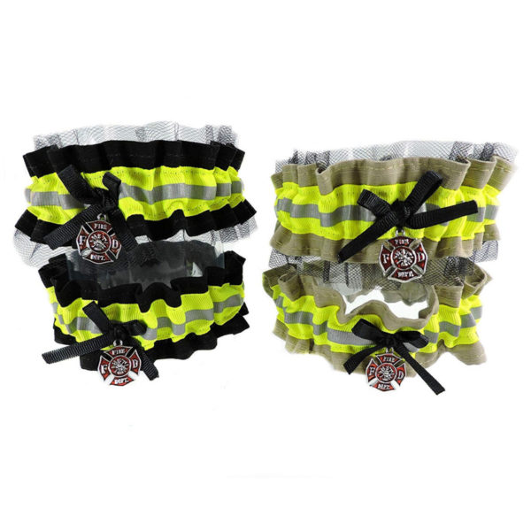 tan and black Firefighter wedding garter
