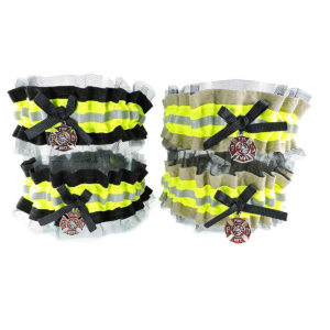 tan and black firefighter garter with lace