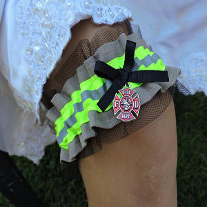 tan firefighter wedding garter with lace