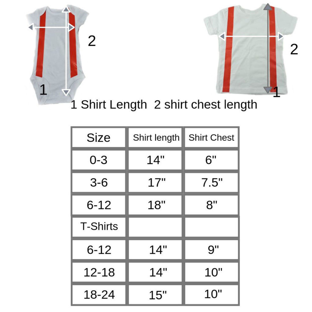 White firefighter baby shirt with suspenders size chart