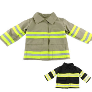 tan and black firefighter baby jacket