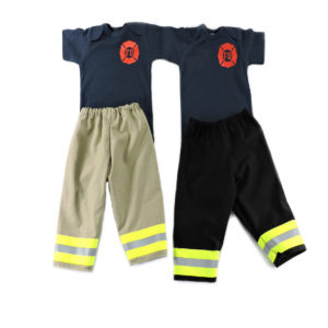tan and black firefighter baby outfit