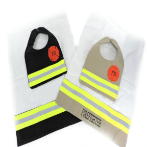 Tan and Black Firefighter Bib and Burp Cloth set