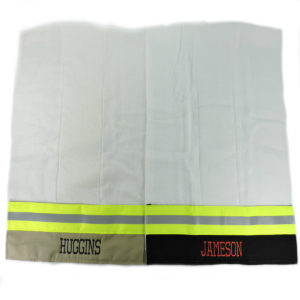tan and black Firefighter Burp cloth