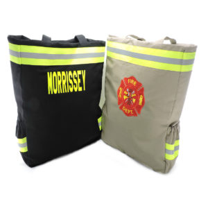tan and black firefighter diaper bag