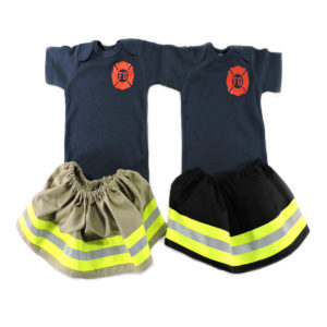Tan and black Firefighter Baby Girl outfit