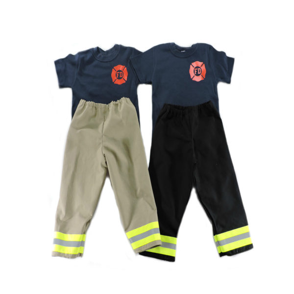 tan and black toddler firefighter outfit